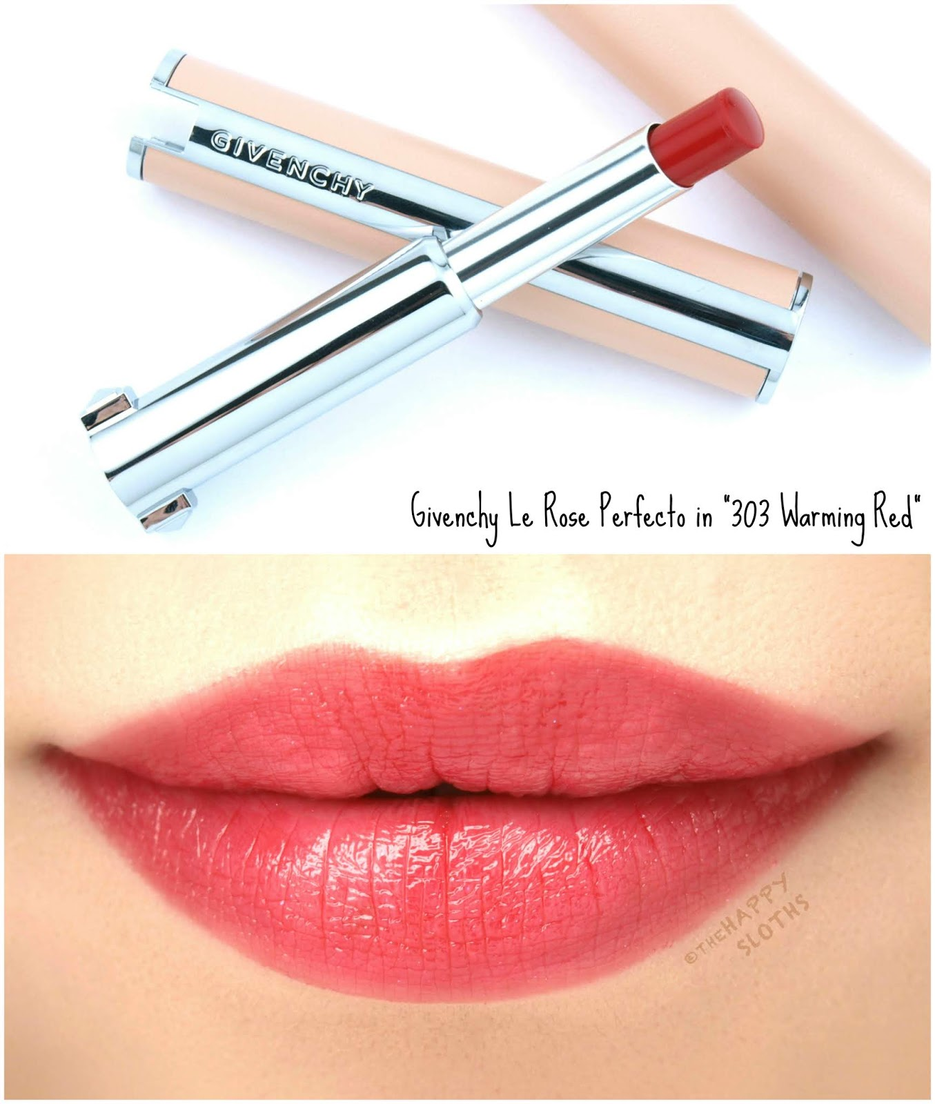 "Givenchy | Le Rose Perfecto Beautifying Lip Balm in ""303 Warming Red"": Review and Swatches"