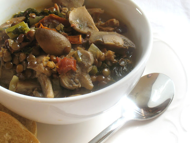 Mushroom Soup with French Lentils, Sun-Dried Tomatoes and Kale