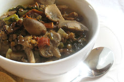 French Lentil Soup with Mushrooms, Sun-Dried Tomatoes and Kale