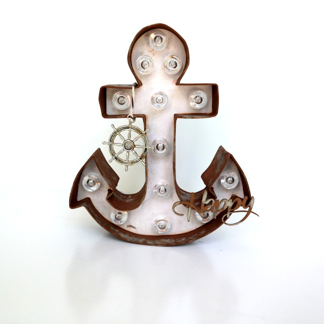 Altered Anchor Marquee Light by Dana Tatar for FabScraps - Journey In Time Collection