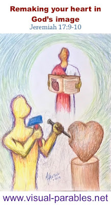 Jesus holding open a Bible as a sculptor re-carves a heart from the image.