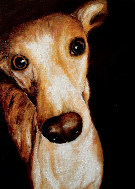 Santa's Little Helper, oil painting of a greyhound, pet portrait by karen