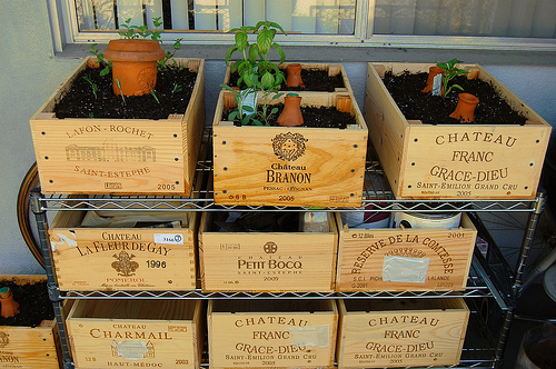 Dishfunctional designs vintage wood crates upcycled for Wooden wine box garden