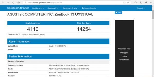 benchmark performa single core dan multi core Zenbook 331UAL