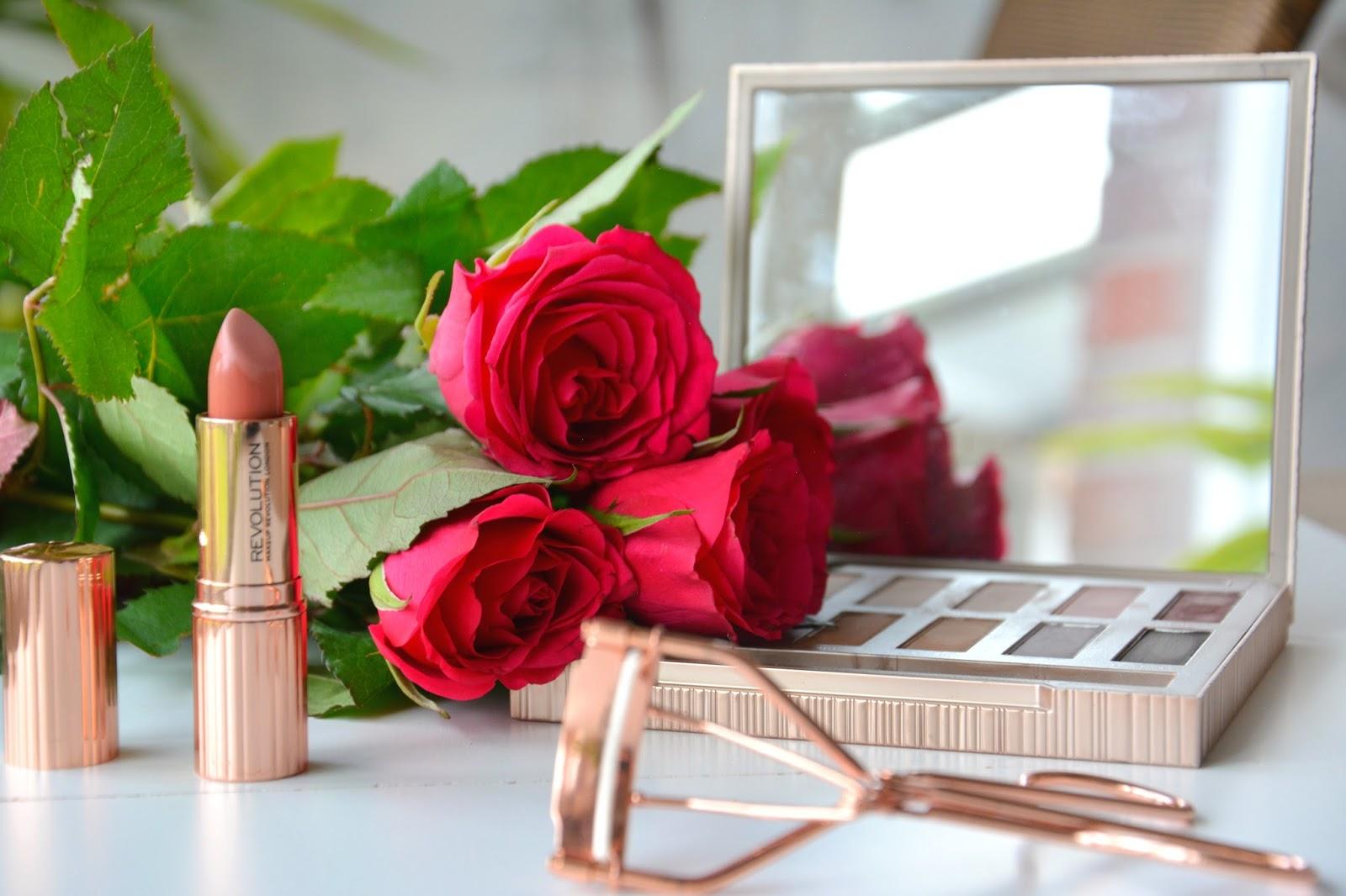 Red Roses; Makeup Revolution Renaissance Lipstick Awaken; Urban Decay Naked Ultimate Basic Palette; Primark Eyelash Curler Rosegold
