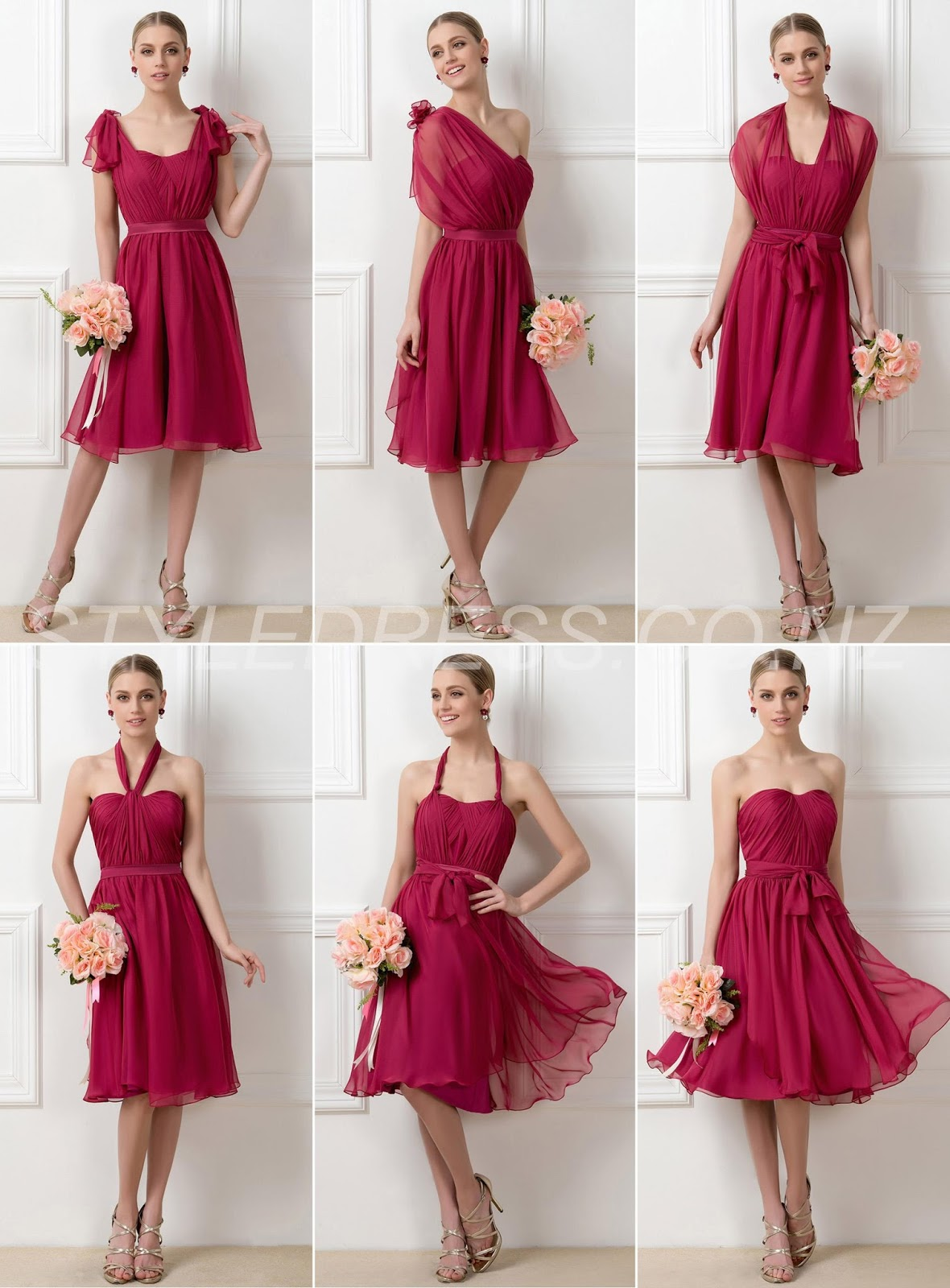 Charming A-Line Sweetheart Knee-Length Convertible Zipper-Up Bridesmaid Dress