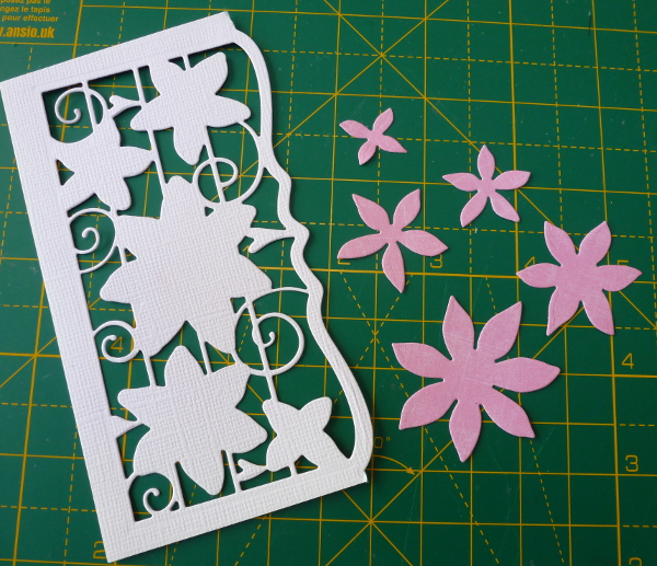 Tonic floral cuff free magazine die cut out onto pink card paper cardstock flower dies