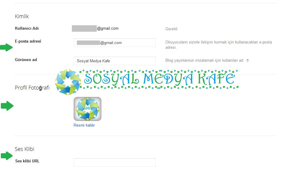 Blogger profiline blog adresi ekleme