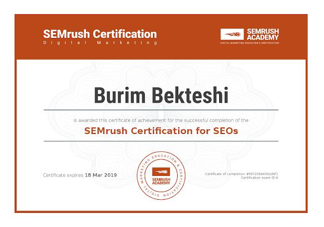 SEMrush Certification for SEOs - Burim Bekteshi