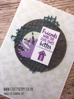 This photograph shows a hand made, purple and green card created using the Under the Sea Framelits Dies and Tranquil Tide ink and cardstock by Stampin' Up!