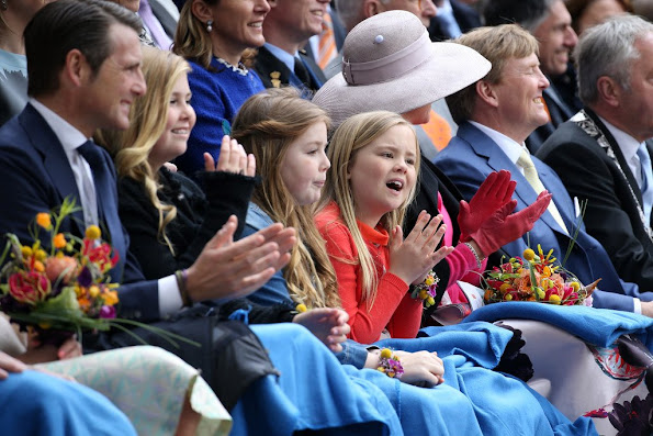 King Willem-Alexander, Queen Maxima, Princess Amalia, Princess Alexia and Princess Ariane, Princess Laurentien, Pieter van Vollenhoven, Prince Maurits and Prince Constantijn attend the 2016 Kings Day celebration in Zwolle
