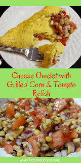 Cheese Omelet with Grilled Corn and Tomato Relish