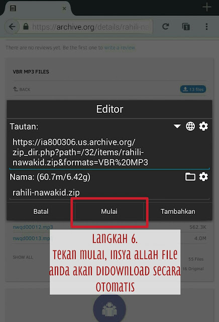 proses download di Archive.org