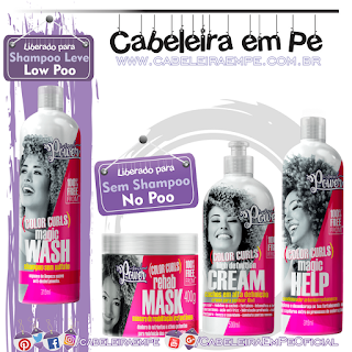 Condicionador, Máscara e Creme para Pentear (Liberados para No Poo) e Shampoo (Low Poo) Linha Color Curls - Soul Power