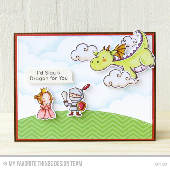 Handmade card from Torico Birdie Brown Magical Dragons stamp set and Die-namics. Mirror Image stamp, Stitched Basic Edges, Stitched Cloud Edges, Smart Phone, and  Blueprints13 Die-namics #mftstamps