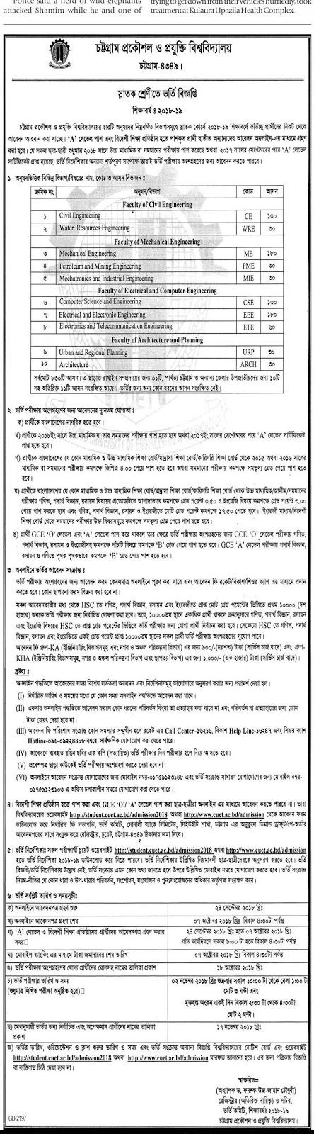 Chittagong University of Engineering and Technology (CUET) Undergraduate Admission Test Circular 2018-2019