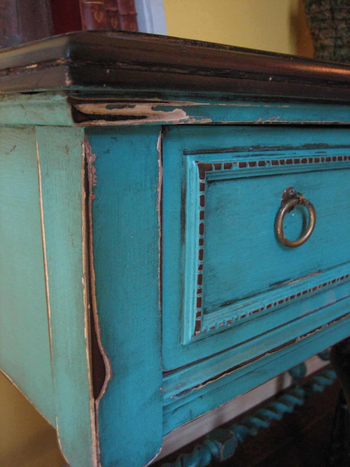 european paint finishes turquoise accent table. Black Bedroom Furniture Sets. Home Design Ideas