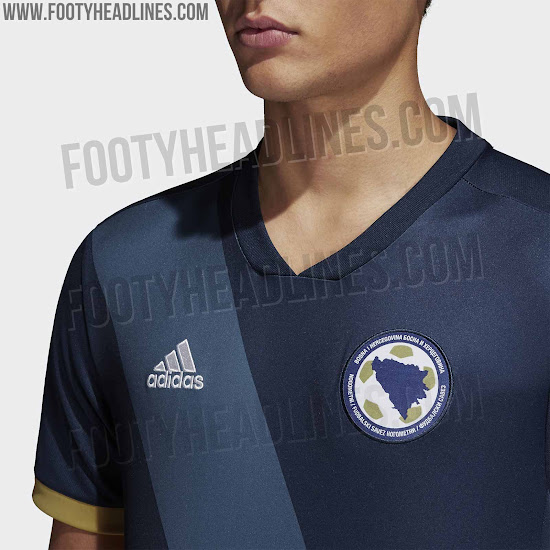 88d0e0b4e Finally, a bit of gold is present in the form of the sleeve cuffs and the  Adidas stripes, which run along the sides of the new Bosnia kit.