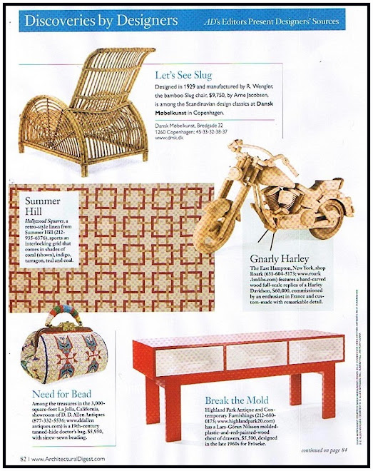 "Highland Park in Architectural Digest, February 2008 ""Discoveries by Designers:  Break the Mold"""