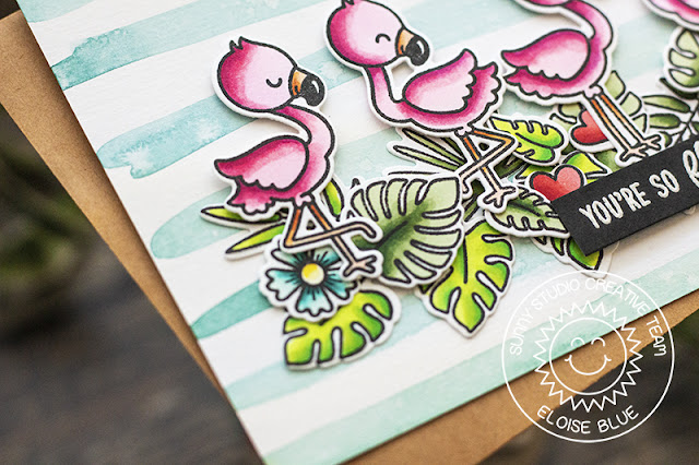 Sunny Studio Stamps: Fabulous Flamingos Frilly Frames Sweet Word Die Summer Themed Cards by Eloise Blue and Leanne West