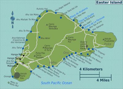 Розміщення статуй моаї на карті острова Пасхи