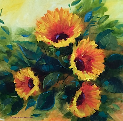 http://www.nancymedina.com/available-paintings/southern-bell-sunflowers