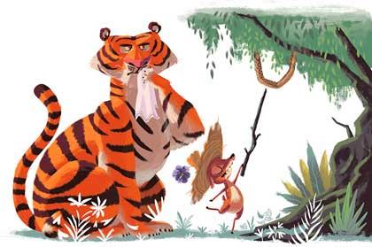cerita kancil dan harimau dalam Bahasa Inggris