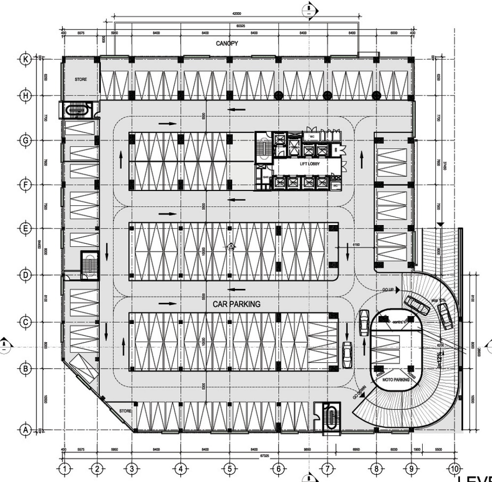 Mặt bằng tầng 2 đến tầng 4 làm khu vực để xe ô tô.