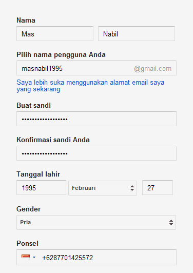 isi data diri gmail