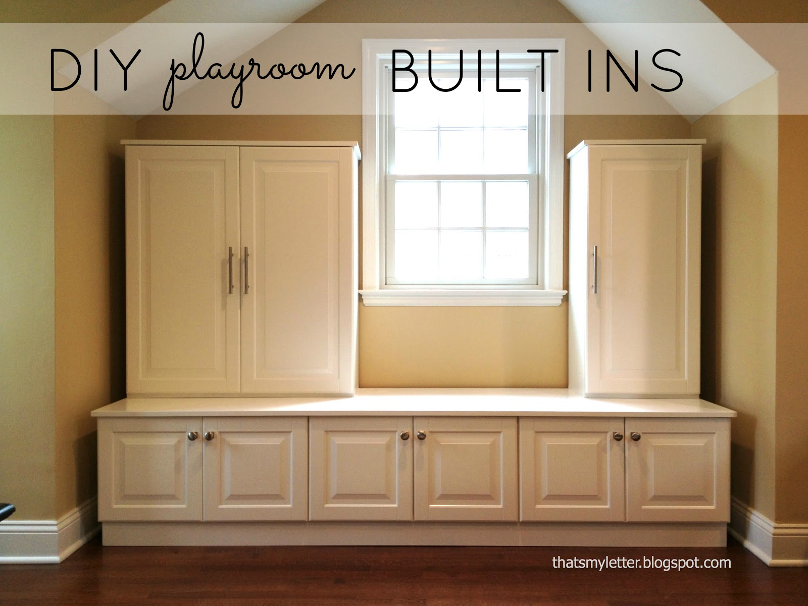 That's My Letter: DIY Playroom Built Ins from Ikea Cabinets