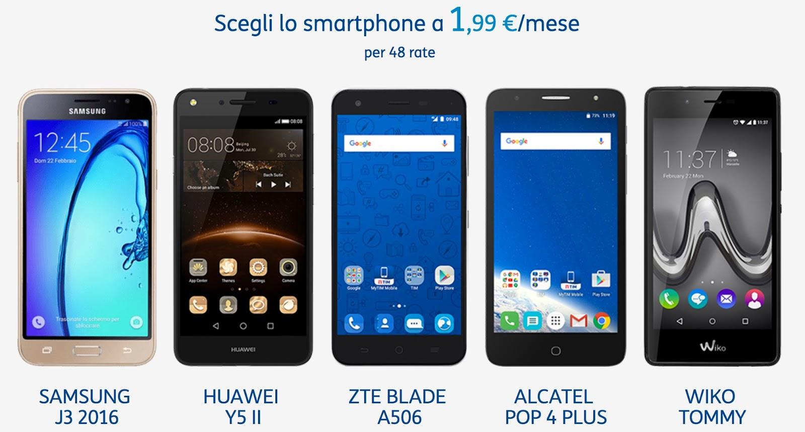 Smartphone con TIM a 1,99 €/mese per 48 rate