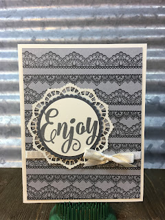 This quick and easy card uses Stampin' Up!'s Delicate Details and Everyday Tags stamp sets.  I love the Very Vanilla, Smoky Slate, and Basic Gray combo!  #stampinup #stamptherapist www.stampwithjennifer.blogspot.com