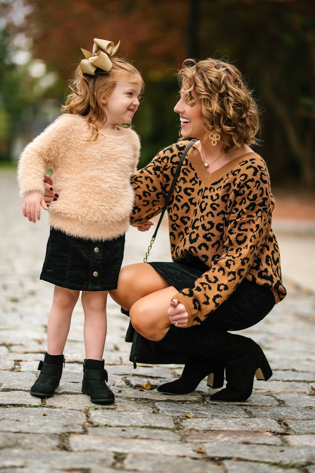 Mommy & Me Look: Twinning in Black Corduroy Skirts - Something Delightful Blog