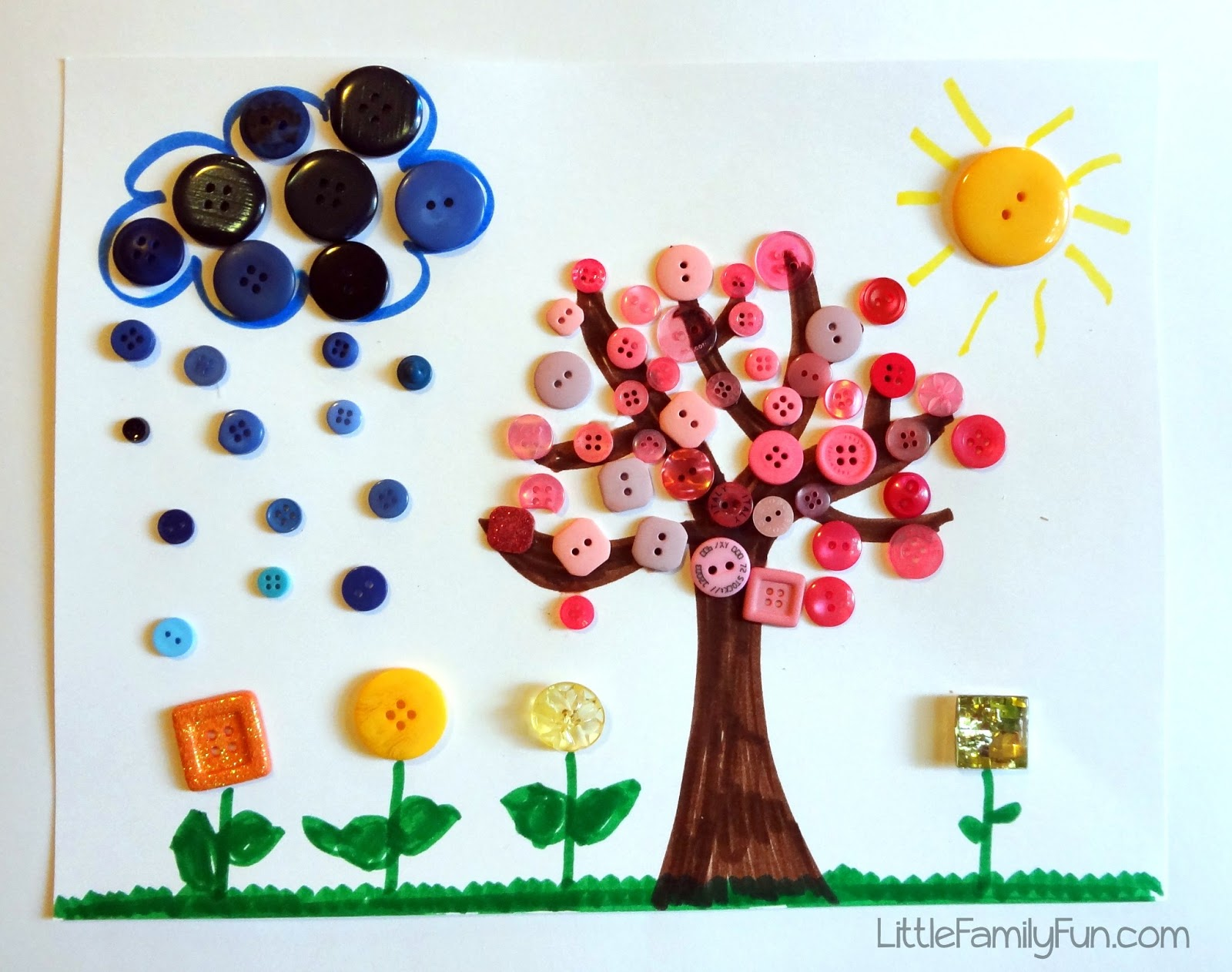 little family fun spring button craft for kids. Black Bedroom Furniture Sets. Home Design Ideas