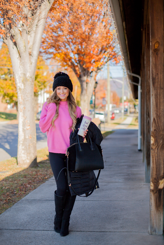 michael kors puffer jacket with pink leith sweater