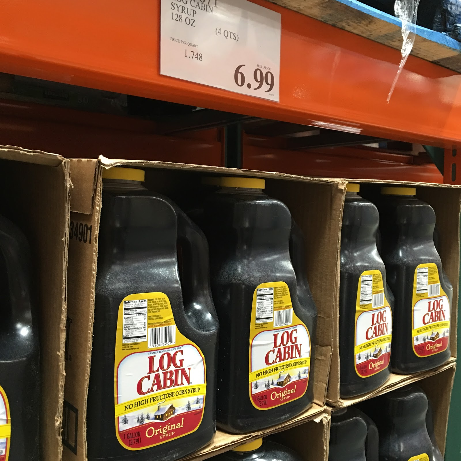 Marvelous photograph of Log Cabin Syrup comes in 128 ounce bottles above but nearby Costco  with #B59F16 color and 1600x1600 pixels
