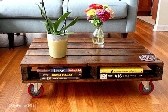 Hẳn là bạn đã bắt gặp rất nhiều ý tưởng sử dụng pallet gỗ để tạo thành bàn uống nước. Bạn cũng có thể sử dụng làm kệ để chứa sách báo, điều khiển tivi, đầu đĩa… đừng quên tạo bánh xe để dễ dàng di chuyển khi cần dọn nhà.