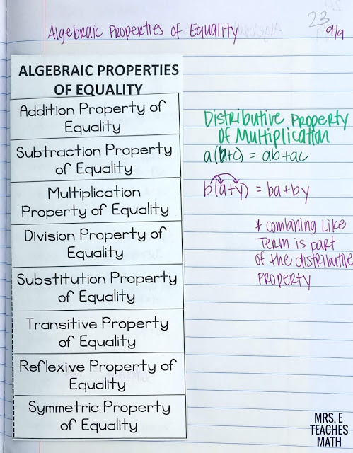 Algebraic Properties of Equality Foldable for Geometry Interactive Notebooks