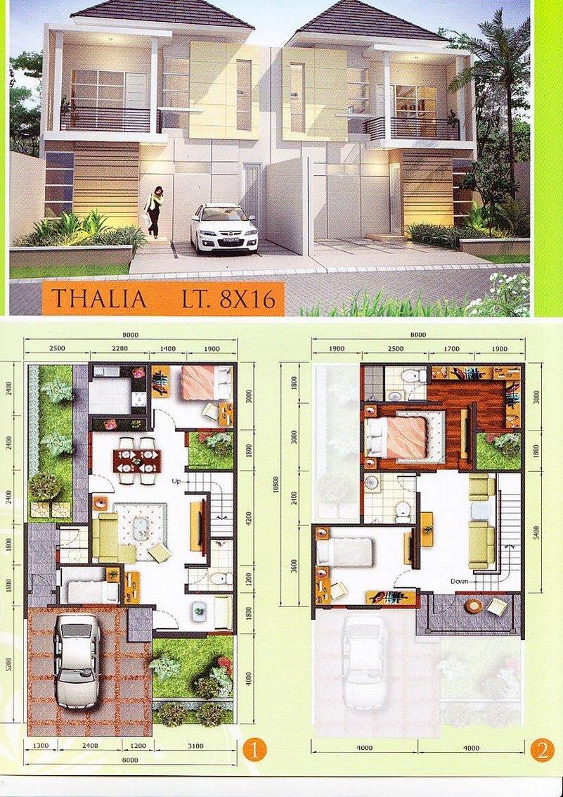 denah rumah ukuran 9x9 m 1 2 lantai 4