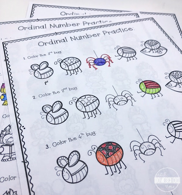 Ordinal Numbers Coloring Pages