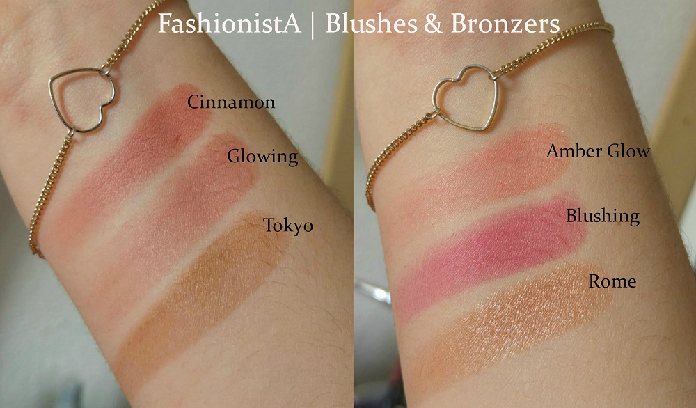 Blushes & Bronzers FashionistA in Customizable Palettes : Cinnamon, Glowing, Tokyo & Amber Glow, Blushing & Rome