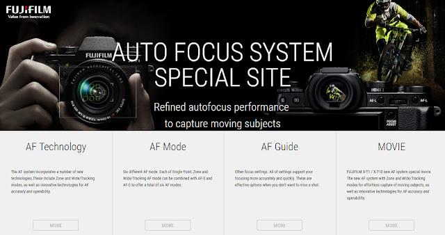 Sito Fujifilm dedicato al funzionamento del sistema AF delle Fuji X