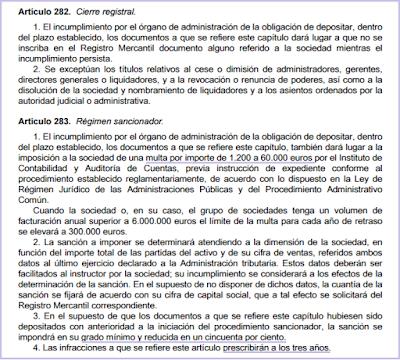 artículo 282 283 Ley Sociedades Capital regimen sancionador incumplimiento depósito cuentas anuales