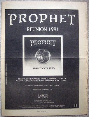 Prophet full page magazine ad for the Recycled album 1991