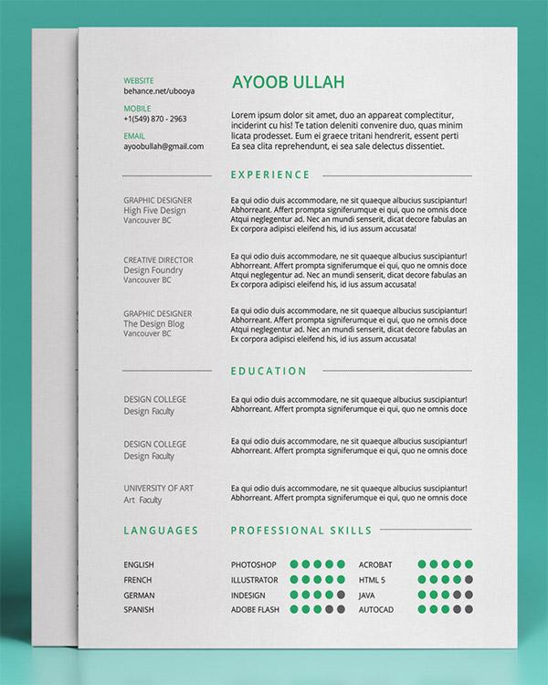 Kumpulan cv dan resume template gratis kumpulan cv dan resume menarik free resume template by ayoob ullah yelopaper Choice Image