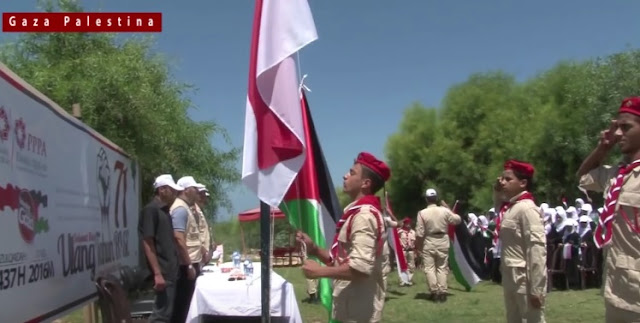 pengibaran bendera merah putih di Gaza