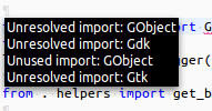 How to fix PyDev unresolved import for gi repository in Eclipse