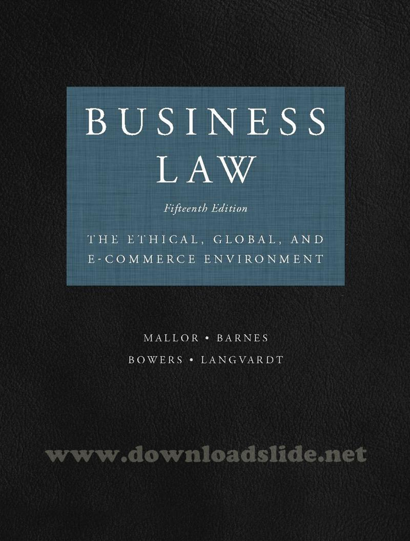 Download Ebook Business Law 15th Edition by Mallor, Barnes, Bowes, Langvardt