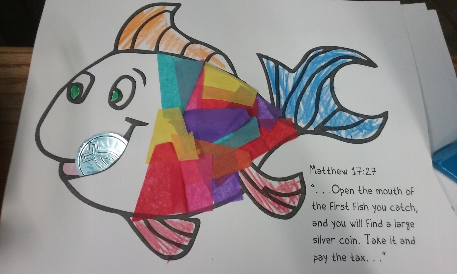 sunday school craft coin in fishs mouth