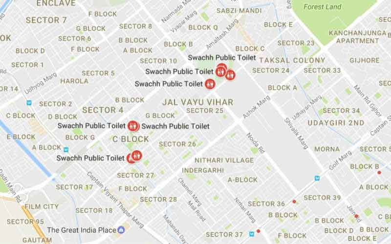 Search Public toilets Easily Via Google Maps